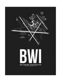BWI Baltimore Airport Black Posters by  NaxArt