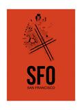 SFO San Francisco Airport Orange Prints by  NaxArt