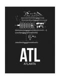 NaxArt - ATL Atlanta Airport Black - Reprodüksiyon