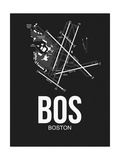 BOS Boston Airport Black Posters by  NaxArt