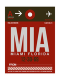MIA Miami Luggage Tag 2 Print by  NaxArt