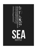 SEA Seattle Airport Black Print by  NaxArt