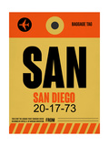 SAN San Diego Luggage Tag 1 Prints by  NaxArt