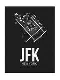 JFK New York Airport Black Print by  NaxArt