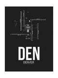 DEN Denver Airport Black Poster by  NaxArt