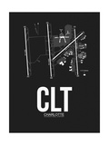 CLT Charlotte Airport Black Posters by  NaxArt