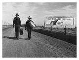 Men carrying suitcases to Los Angeles, 1937 (detail) Art by Dorothea Lange