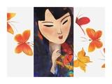 Asian Woman and Butterflies Print by Linda Naiman