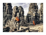 Boy Monks reading in Angkor Wat, Cambodia Prints by Scott Stulberg