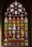 Stained Glass Window Inside Cathedral of Saint Michael and Saint Gudula, Brussels, Belgium, Europe Photographic Print by Julian Elliott