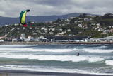 Kite Surfer with Airport in Background, Lyall Bay, Wellington, North Island, New Zealand, Pacific Photographic Print by Nick Servian