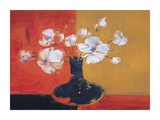 White flowers in a black vase Prints by J. Tienyu