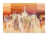 Milano al tramonto Posters by Luigi Florio