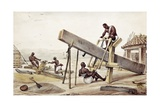 Black Slaves Sawing Planks Giclee Print by Jean Baptiste Debret