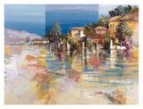 Paese sul lago Posters by Luigi Florio