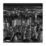 Night aerial view of midtown Manhattan Poster by Cameron Davidson