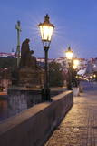 Illuminated Charles Bridge, UNESCO World Heritage Site, Prague, Bohemia, Czech Republic, Europe Photographic Print by Markus Lange