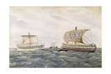 Phoenician and Assyrian Ships in Service of Persian King Cambyses II, 6th C Prints by Rafael Monleon Y Torres
