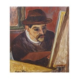 Utrillo in Front of His Easel Reproduction giclée Premium par Suzanne Valadon