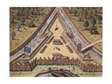 Map of Fort Caroline, Built in Florida in 1564 Poster by Theodor de Bry