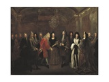 Louis XIV with Prince Elector of Saxony in Fontainebleau Prints by Louis Silvestre