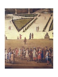 Promenade of Louis XIV by the Parterre Du Nord (Detail) Prints by Etienne Allegrain