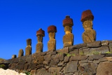 Moai of Ahu Nau Nau Restored in 1980 by Rapa Nui Archaeologist Sergio Rapu Haoa Photo