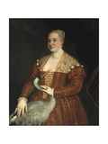 Portrait of a Lady with a Heron Plakat af Paolo Veronese