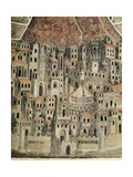 View of Florence, Detail from Madonna Della Misericordia Poster af Bernardo Daddi