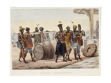 Black Urban Slaves Transporting a Wine Barrel Giclee Print by Jean Baptiste Debret