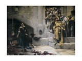 King Ramiro II Ordering Beheading of Disobedient Nobles Print by Jose Casado Del Alisal