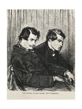 Edmond and Jules De Goncourt in a Box at the Theatre Giclee Print by Paul Gavarni