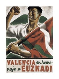 Republican Spanish Civil War Poster, Valencia in homage to Euzkadi Prints