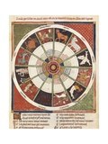 Twelve Signs of the Zodiac, in Breviary of Love by Ermengaud of Beziers, 12th C Print by Ermengaud of Beziers