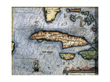 Map of the Caribbean Sea with Cuba, Cayman Islands, Jamaica Poster by Abraham Ortelius