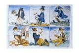 Drunk Men in Panel of Six Polychrome Tiles Prints by Francesc Xavier Nogues y Casas