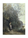 A Peasant Woman Grazing a Cow at the Edge of a Forest Posters by Jean-Baptiste-Camille Corot