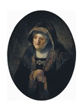 Artist's Mother as Biblical Prophetess Hannah Poster by  Rembrandt van Rijn