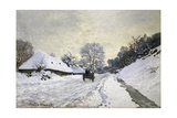 The Cart, or Road under Snow at Honfleur Prints by Claude Monet