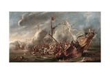 Naval Battle Between Spanish and Turks Posters by Cornelis De Wael