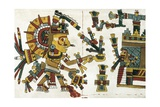 Aztec God of the Sun Receiving Offerings in His Palace Guarded by an Eagle Art