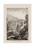 San Pablo Bridge over Huecar River in Cuenca (1774) Print by Antonio Ponz