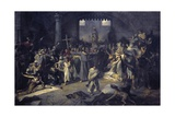 Religious Procession During the Plague of Tournai in 1095 Giclee Print by Louis Gallait