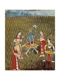 Krishna with a Lotus Flower and His Wife Radha Dancing in the Rain Poster