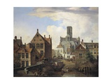 View of St. Baaf's Cathedral and Reep River Print by Pieter Frans de Noter