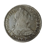 Potosi with the Image of Charles III, Minted in Peru, 1773 Photo