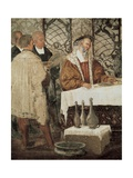 King Christian I of Denmark in a Banquet in Malpaga Castle Giclee Print by Marcello Fogolino