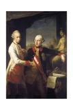 Kaiser Joseph II and Grand Duke Leopold of Tuscany Giclée-tryk af Pompeo Girolamo Batoni