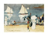 Beach in La Concha Bay in San Sebastian Giclee Print by Joaquin Sorolla