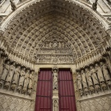 Last Judgment over Main Door on Façade of Amiens Cathedral Photo